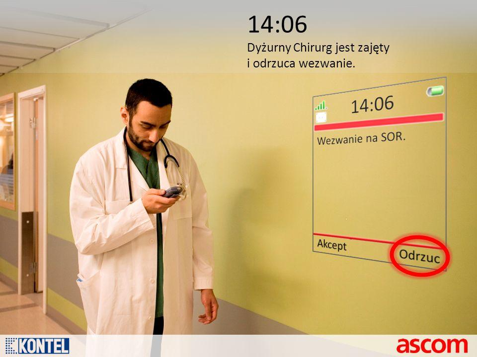 14:06 Dyżurny Chirurg jest zajęty i odrzuca wezwanie.
