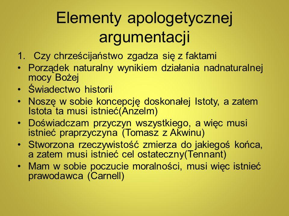 Elementy apologetycznej argumentacji