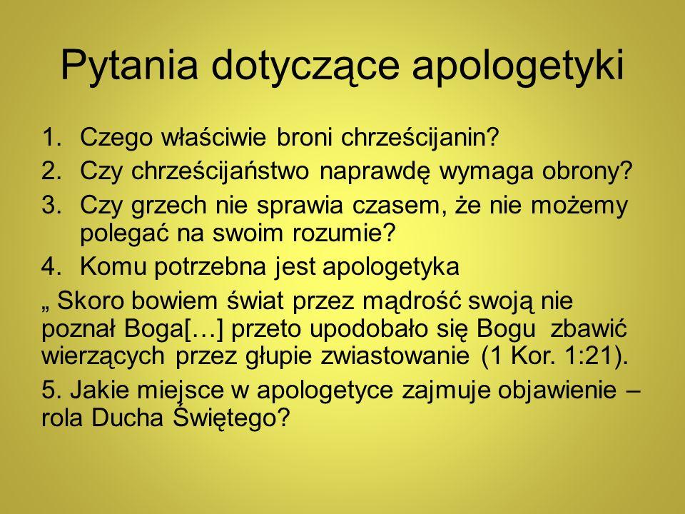 Pytania dotyczące apologetyki