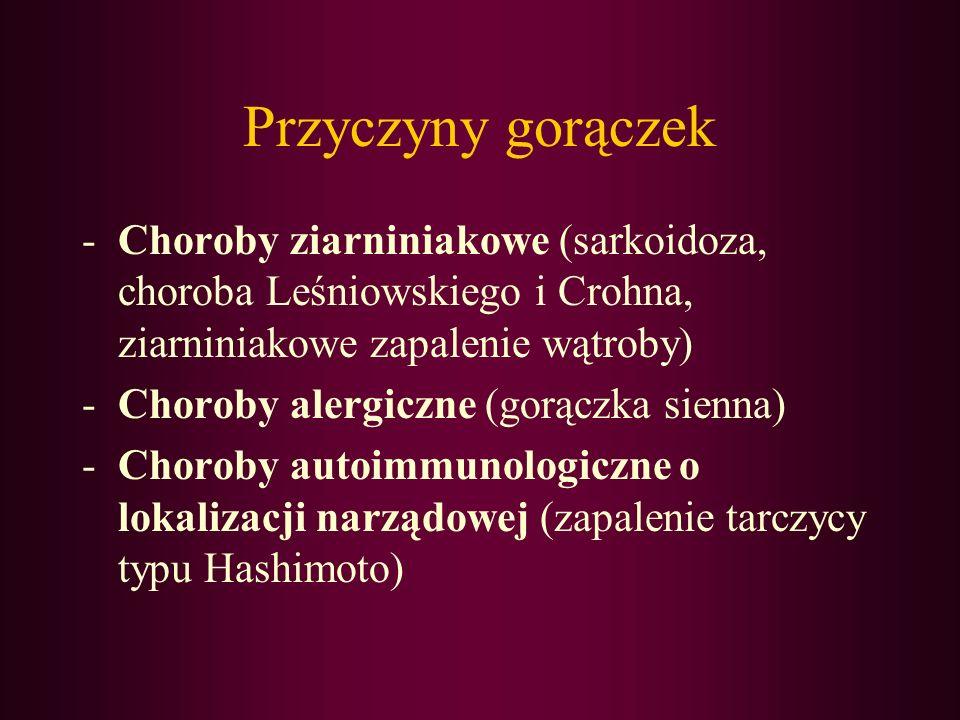 Przyczyny gorączek Choroby ziarniniakowe (sarkoidoza, choroba Leśniowskiego i Crohna, ziarniniakowe zapalenie wątroby)