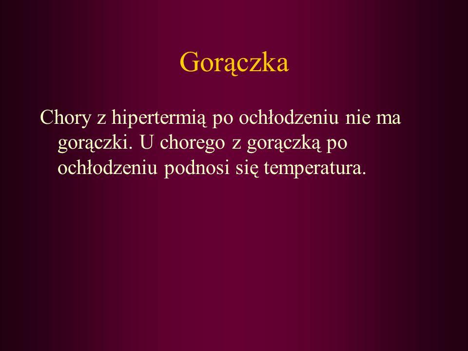 Gorączka Chory z hipertermią po ochłodzeniu nie ma gorączki.