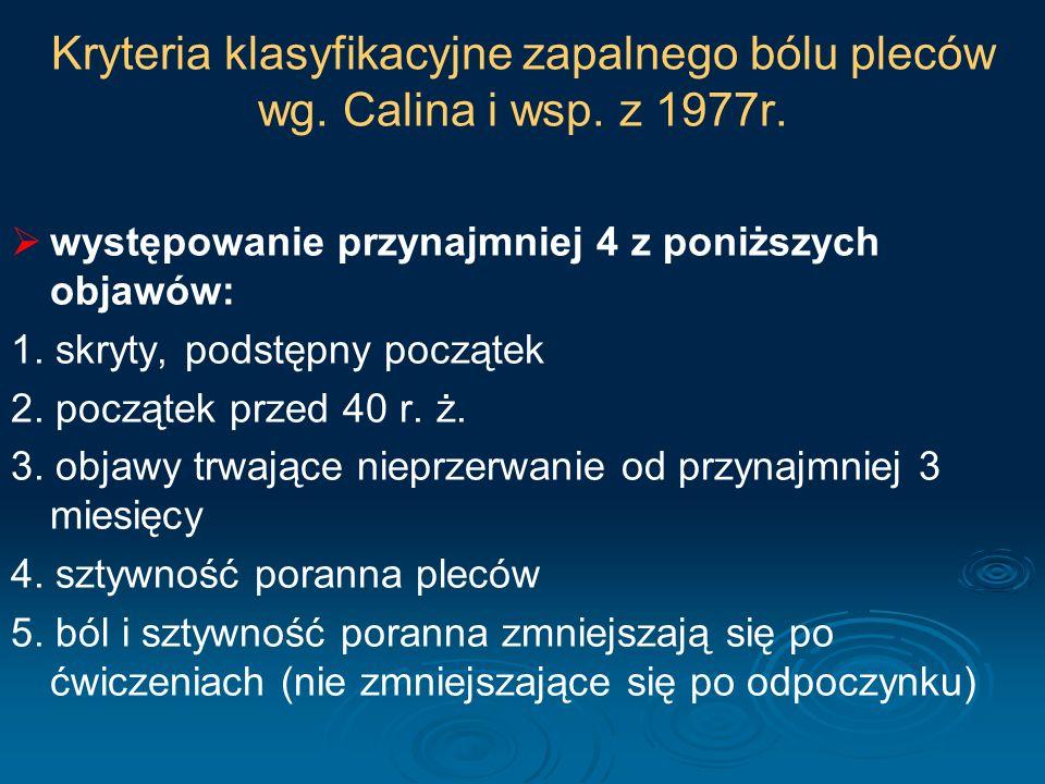 Kryteria klasyfikacyjne zapalnego bólu pleców wg. Calina i wsp. z 1977r.