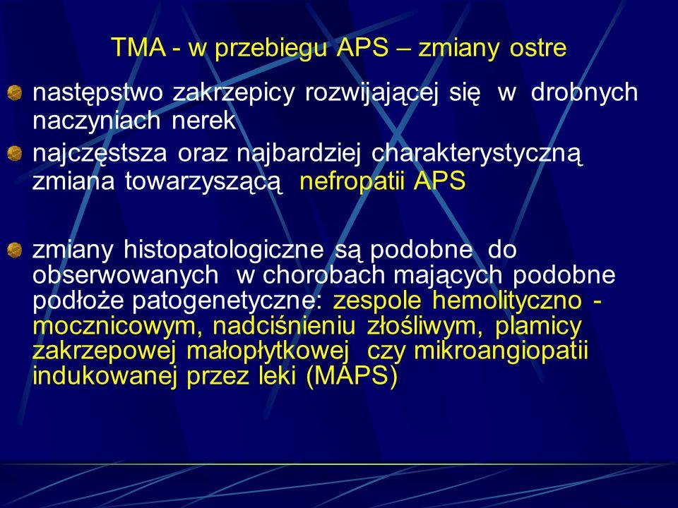 TMA - w przebiegu APS – zmiany ostre