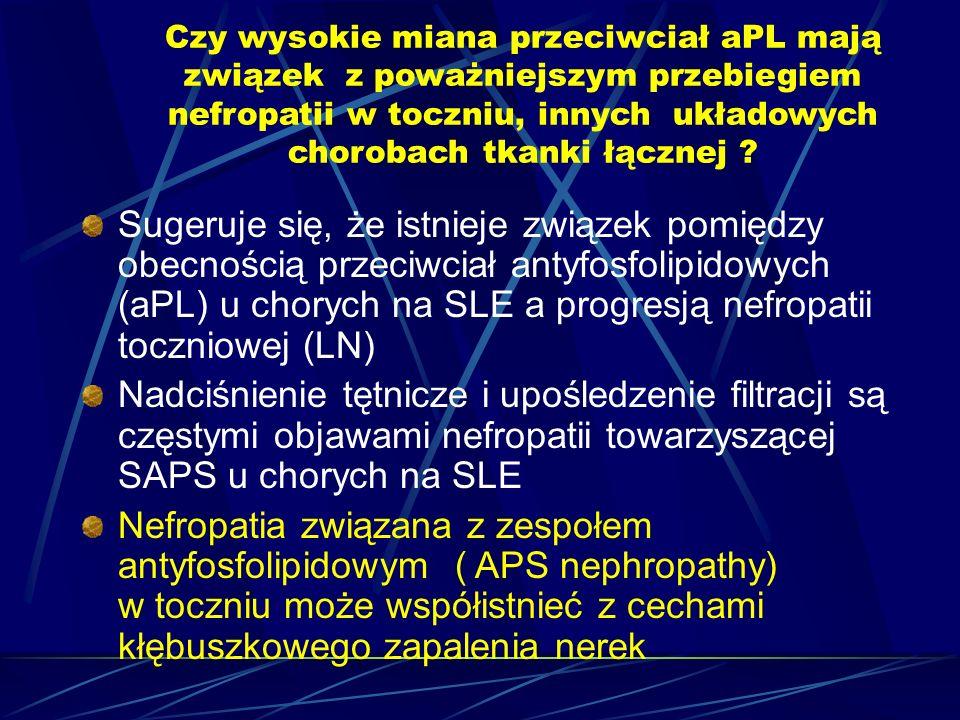 Czy wysokie miana przeciwciał aPL mają związek z poważniejszym przebiegiem nefropatii w toczniu, innych układowych chorobach tkanki łącznej