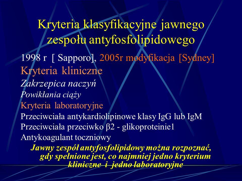 Kryteria klasyfikacyjne jawnego zespołu antyfosfolipidowego