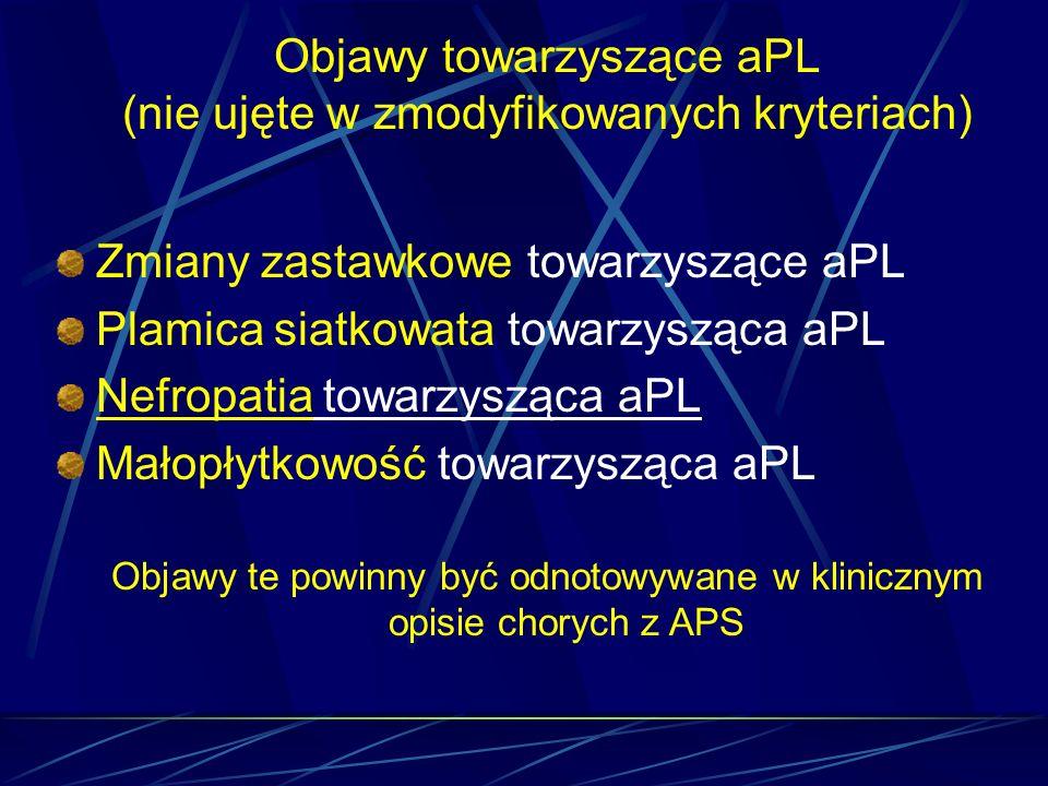 Objawy towarzyszące aPL (nie ujęte w zmodyfikowanych kryteriach)