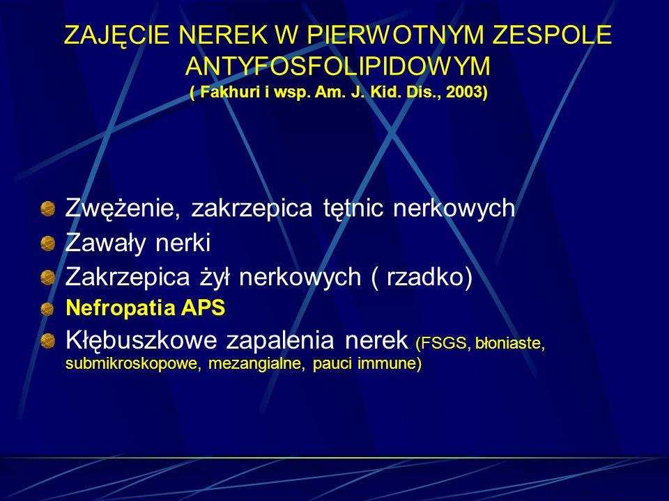 Zwężenie, zakrzepica tętnic nerkowych Zawały nerki