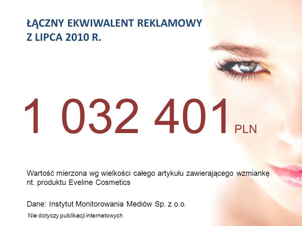 1 032 401PLN ŁĄCZNY EKWIWALENT REKLAMOWY Z LIPCA 2010 R.