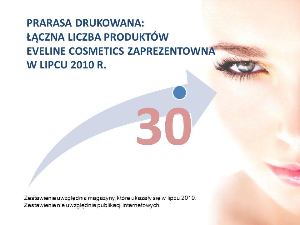 PRARASA DRUKOWANA: ŁĄCZNA LICZBA PRODUKTÓW EVELINE COSMETICS ZAPREZENTOWNA W LIPCU 2010 R.