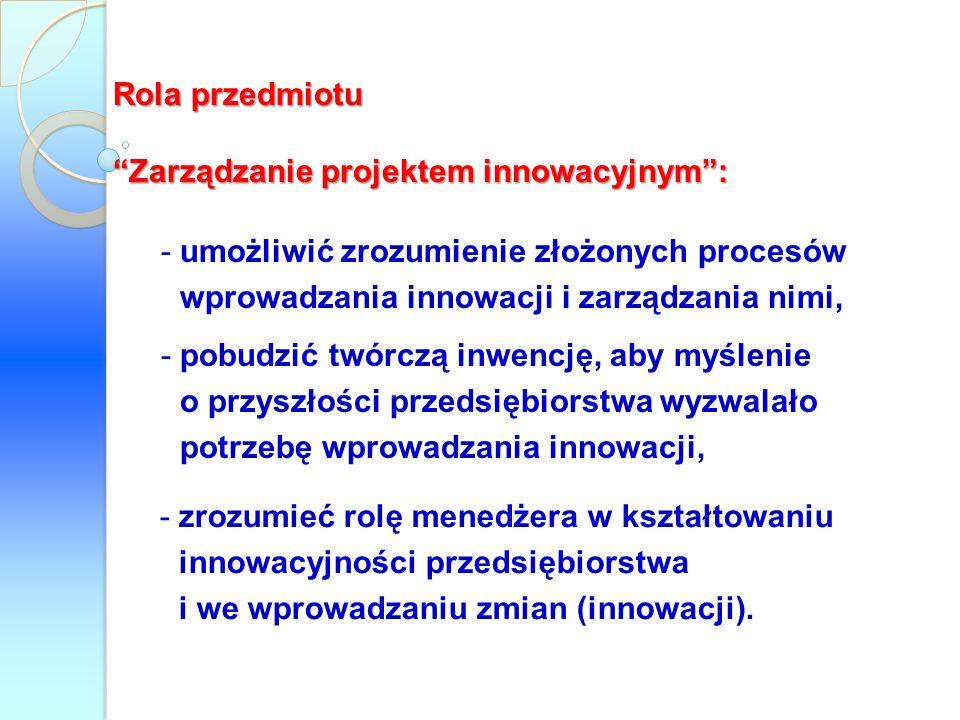 Rola przedmiotu Zarządzanie projektem innowacyjnym : umożliwić zrozumienie złożonych procesów wprowadzania innowacji i zarządzania nimi,