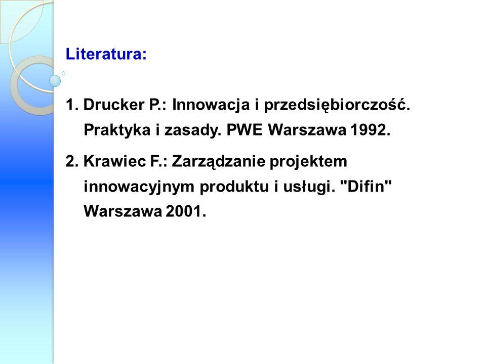 Literatura: 1. Drucker P.: Innowacja i przedsiębiorczość. Praktyka i zasady. PWE Warszawa 1992.
