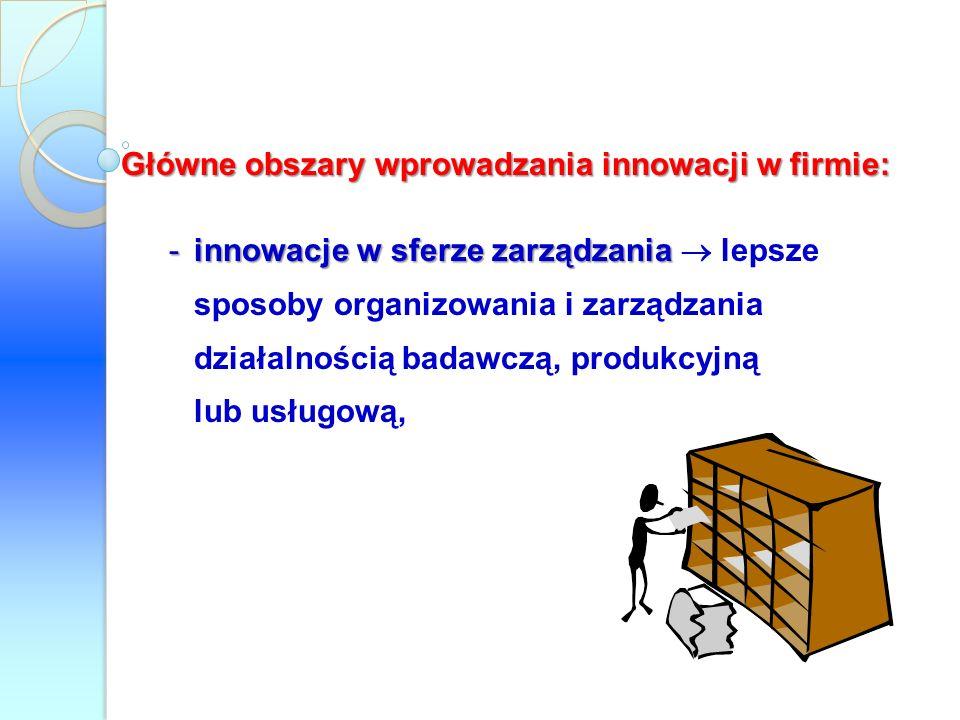 Główne obszary wprowadzania innowacji w firmie: