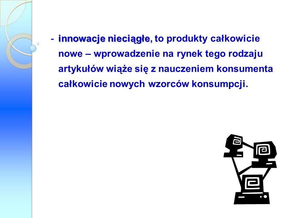 innowacje nieciągłe, to produkty całkowicie nowe – wprowadzenie na rynek tego rodzaju artykułów wiąże się z nauczeniem konsumenta całkowicie nowych wzorców konsumpcji.