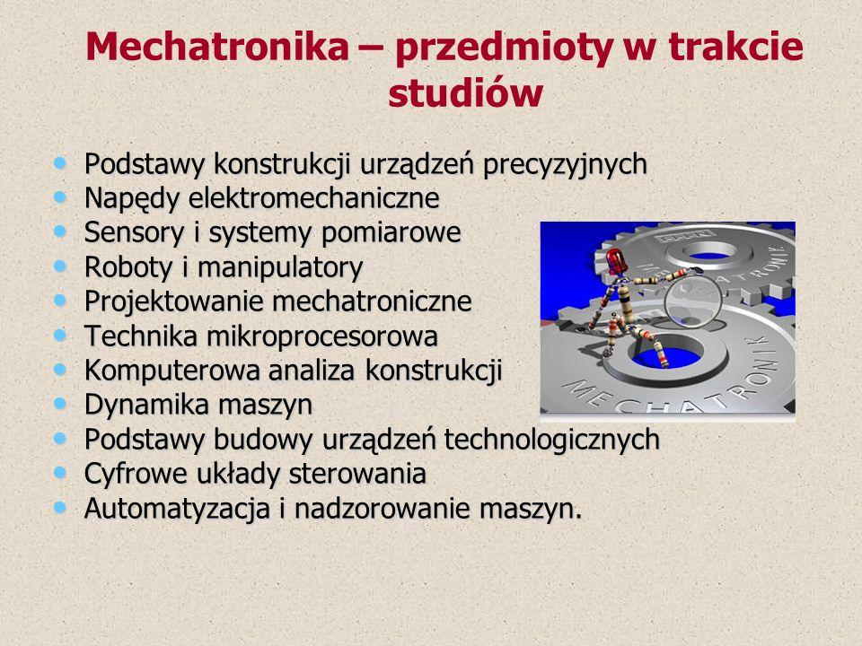 Mechatronika – przedmioty w trakcie studiów
