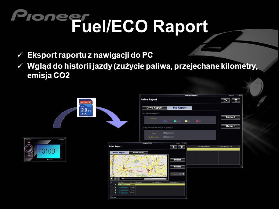Fuel/ECO Raport Eksport raportu z nawigacji do PC