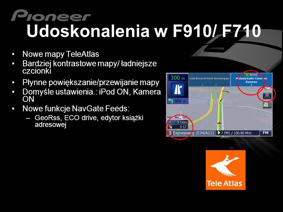 Udoskonalenia w F910/ F710 Nowe mapy TeleAtlas