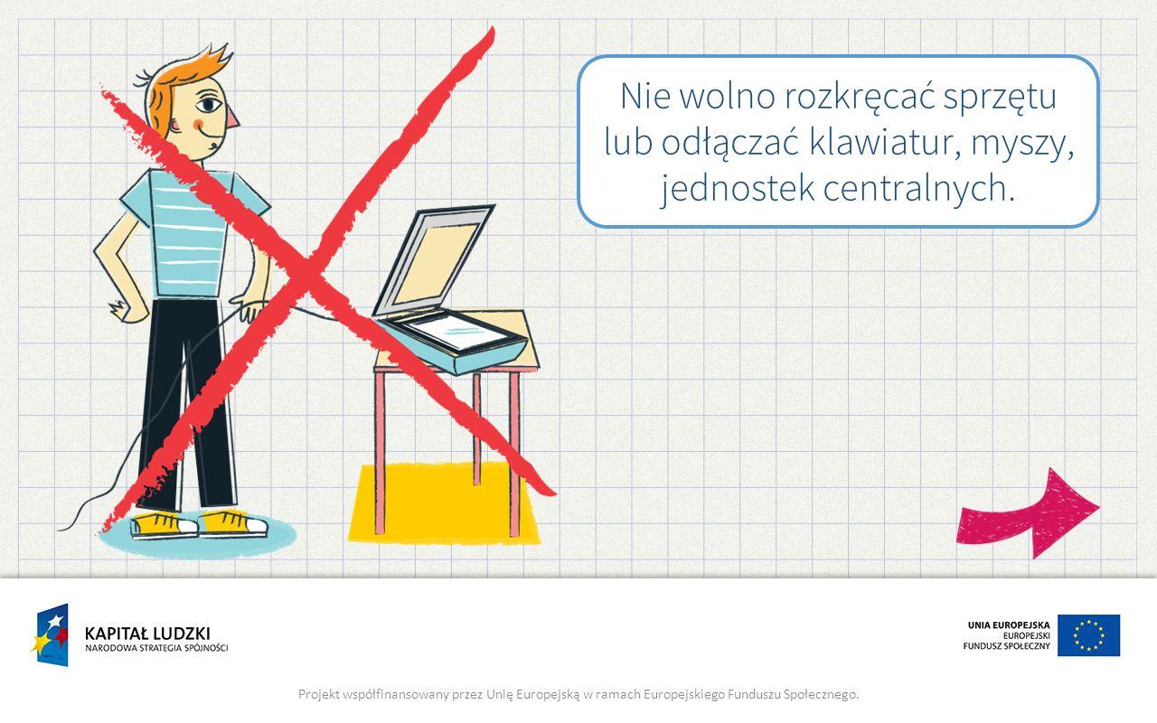 Nie wolno rozkręcać sprzętu lub odłączać klawiatur, myszy, jednostek centralnych.
