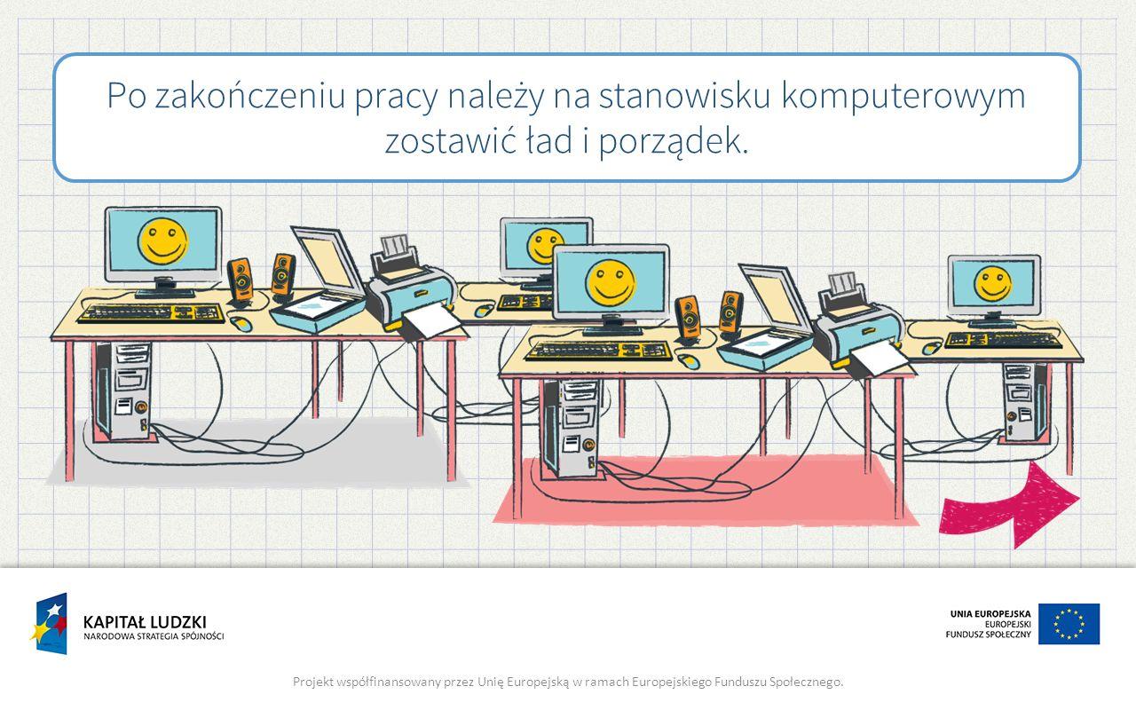 Po zakończeniu pracy należy na stanowisku komputerowym zostawić ład i porządek.