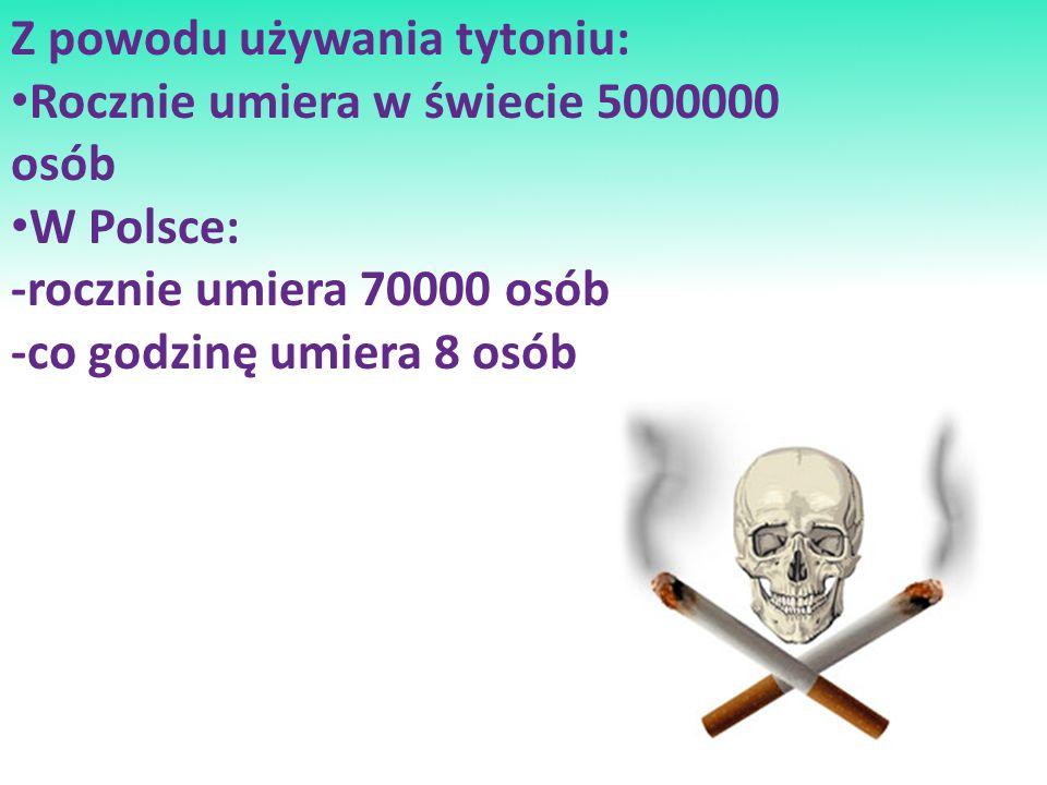 Z powodu używania tytoniu: