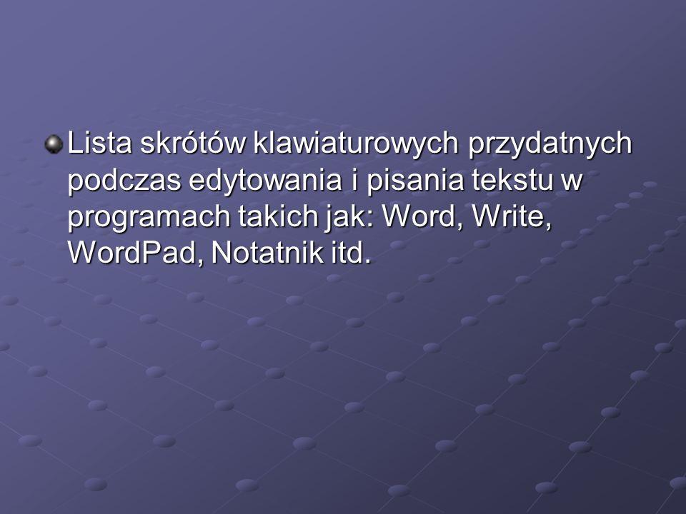 Lista skrótów klawiaturowych przydatnych podczas edytowania i pisania tekstu w programach takich jak: Word, Write, WordPad, Notatnik itd.