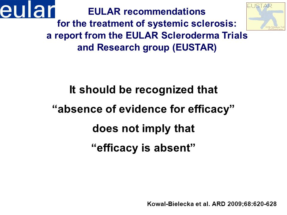 It should be recognized that absence of evidence for efficacy