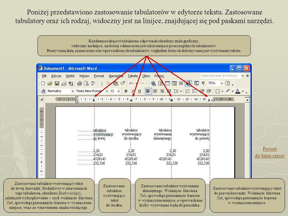 Poniżej przedstawiono zastosowanie tabulatorów w edytorze tekstu