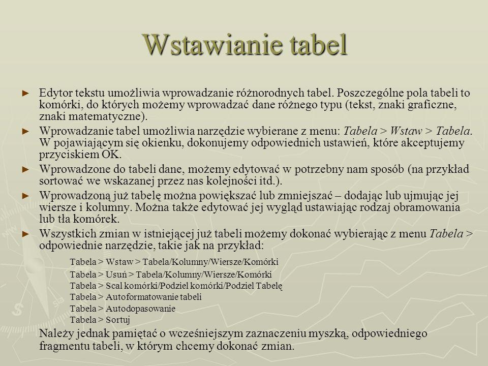 Wstawianie tabel Tabela > Wstaw > Tabela/Kolumny/Wiersze/Komórki