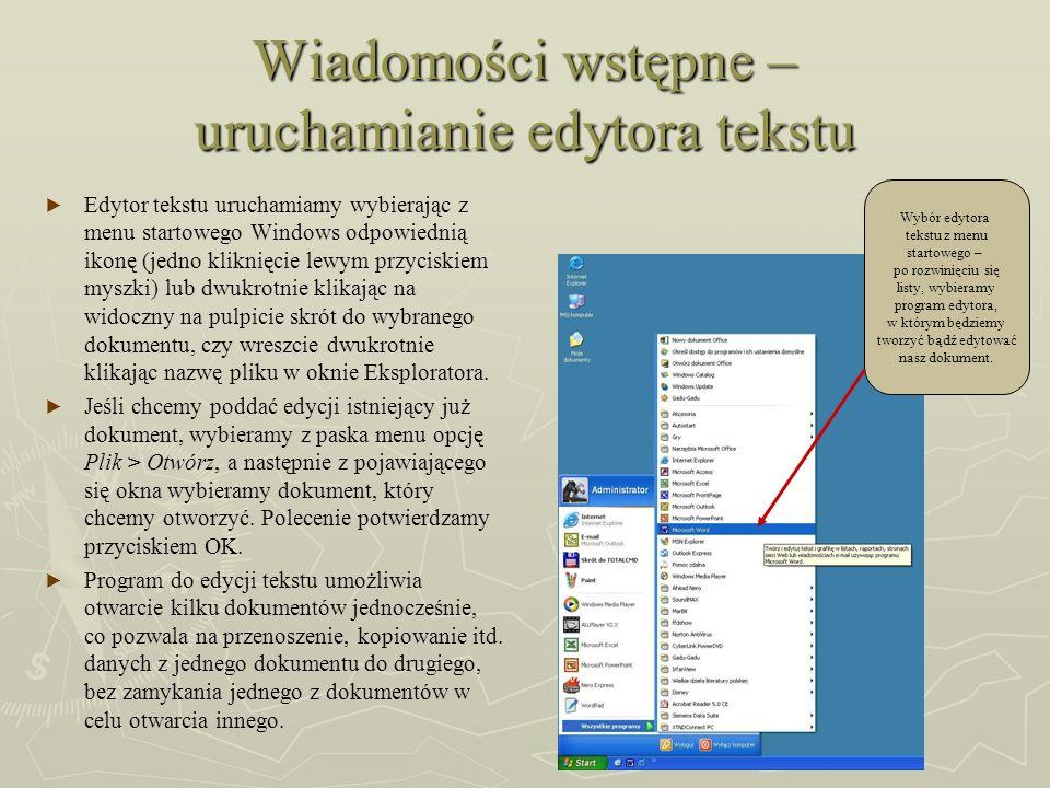 Wiadomości wstępne – uruchamianie edytora tekstu