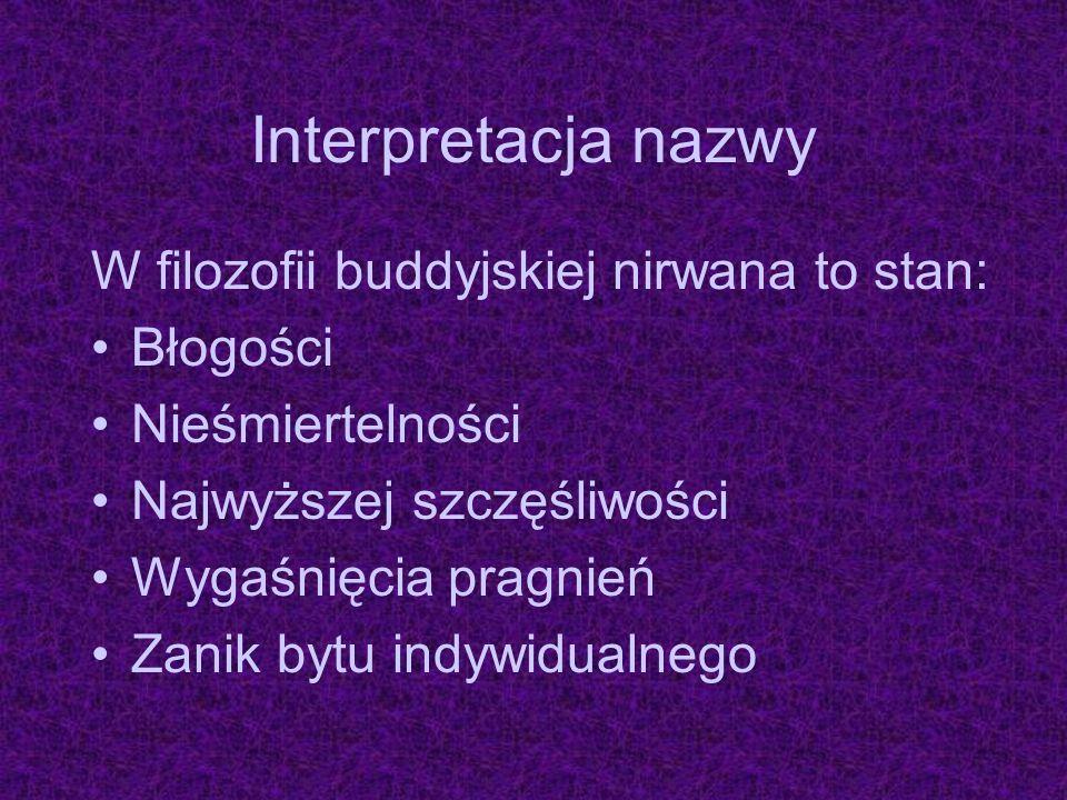 Interpretacja nazwy W filozofii buddyjskiej nirwana to stan: Błogości