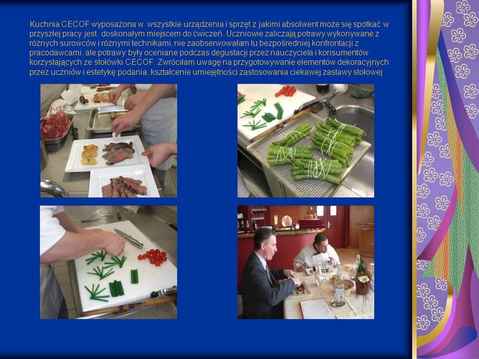 Kuchnia CECOF wyposażona w wszystkie urządzenia i sprzęt z jakimi absolwent może się spotkać w przyszłej pracy jest doskonałym miejscem do ćwiczeń.