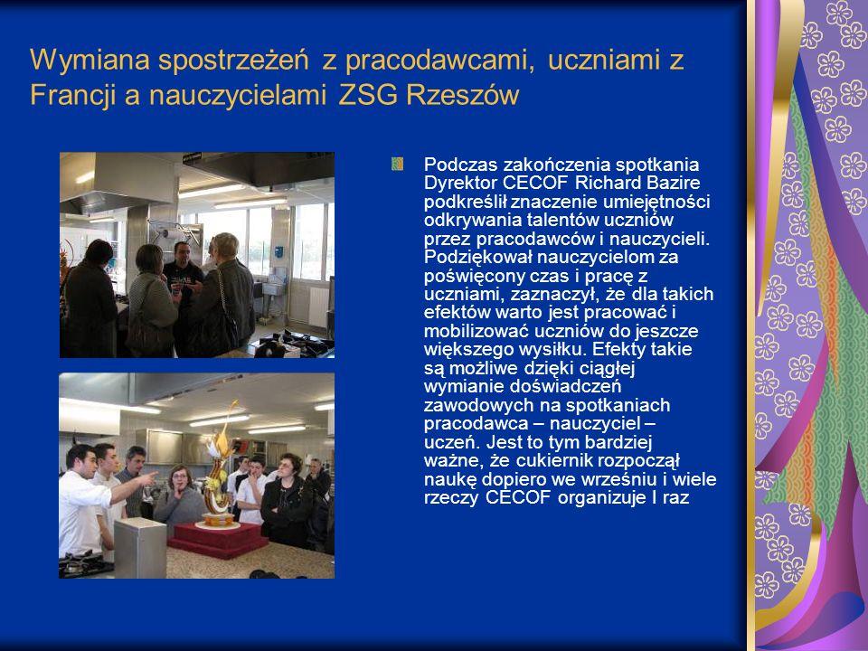Wymiana spostrzeżeń z pracodawcami, uczniami z Francji a nauczycielami ZSG Rzeszów