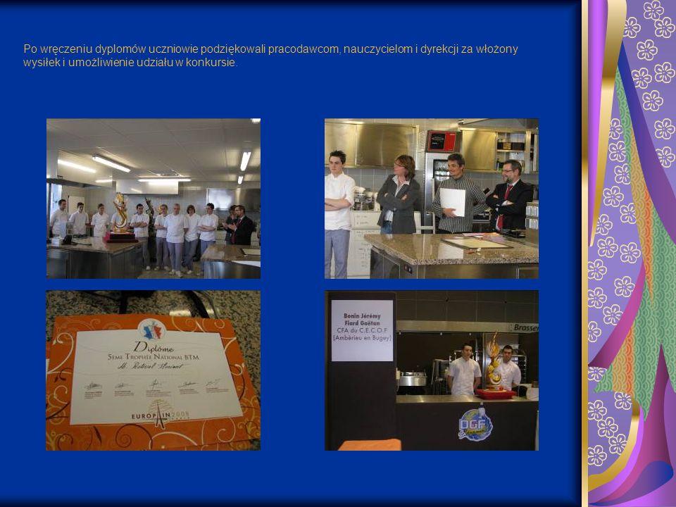 Po wręczeniu dyplomów uczniowie podziękowali pracodawcom, nauczycielom i dyrekcji za włożony wysiłek i umożliwienie udziału w konkursie.