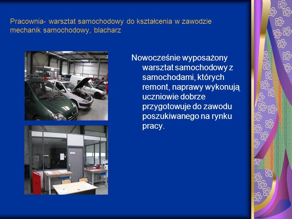 Pracownia- warsztat samochodowy do kształcenia w zawodzie mechanik samochodowy, blacharz