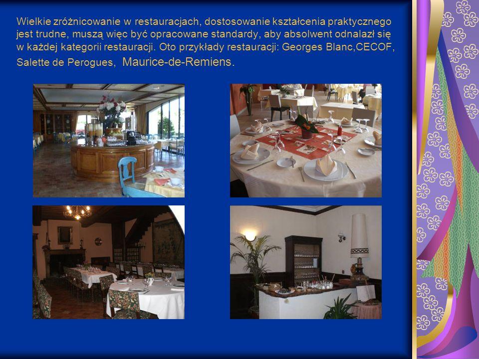 Wielkie zróżnicowanie w restauracjach, dostosowanie kształcenia praktycznego jest trudne, muszą więc być opracowane standardy, aby absolwent odnalazł się w każdej kategorii restauracji.