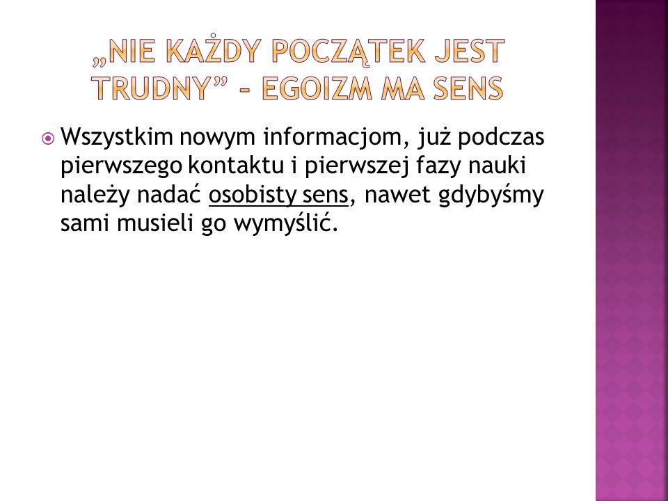 """""""NIE KAŻDY POCZĄTEK JEST TRUDNY – EGOIZM MA SENS"""