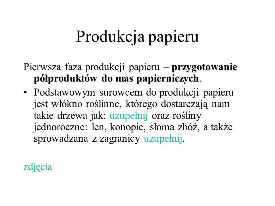 Produkcja papieru Pierwsza faza produkcji papieru – przygotowanie półproduktów do mas papierniczych.