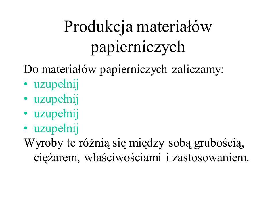 Produkcja materiałów papierniczych
