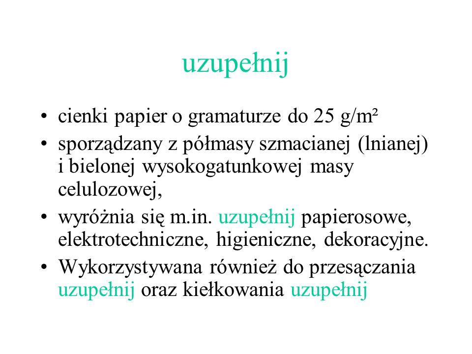 uzupełnij cienki papier o gramaturze do 25 g/m²