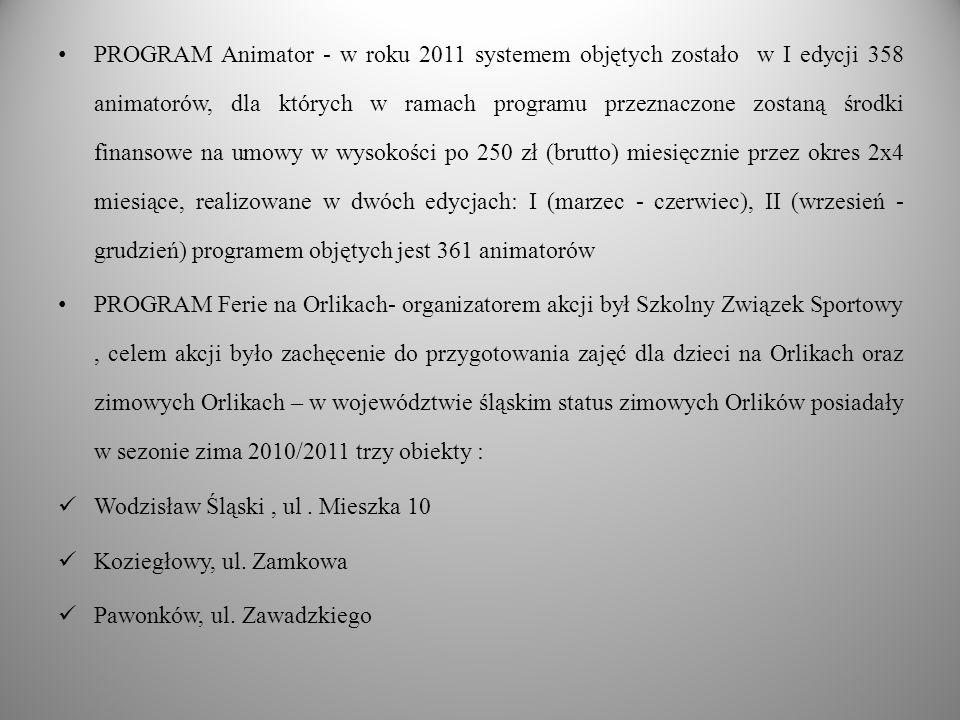 PROGRAM Animator - w roku 2011 systemem objętych zostało w I edycji 358 animatorów, dla których w ramach programu przeznaczone zostaną środki finansowe na umowy w wysokości po 250 zł (brutto) miesięcznie przez okres 2x4 miesiące, realizowane w dwóch edycjach: I (marzec - czerwiec), II (wrzesień - grudzień) programem objętych jest 361 animatorów