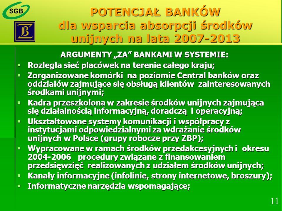 """ARGUMENTY """"ZA BANKAMI W SYSTEMIE:"""