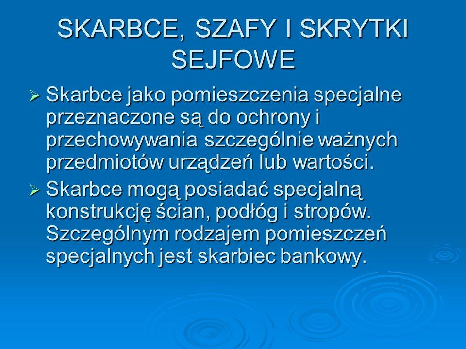 SKARBCE, SZAFY I SKRYTKI SEJFOWE