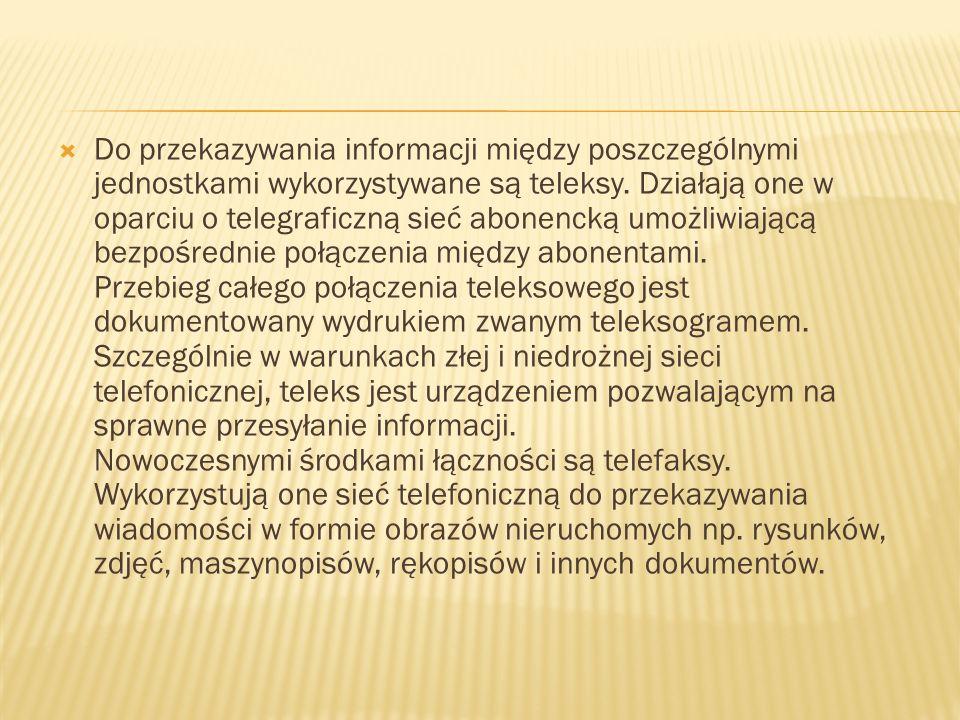 Do przekazywania informacji między poszczególnymi jednostkami wykorzystywane są teleksy.