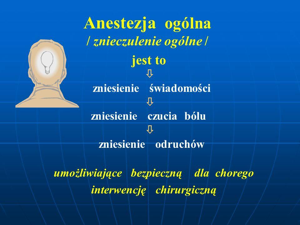 Anestezja ogólna / znieczulenie ogólne / jest to