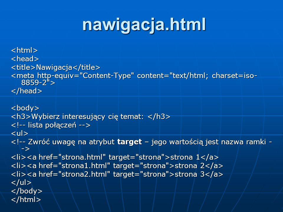 nawigacja.html <html> <head>