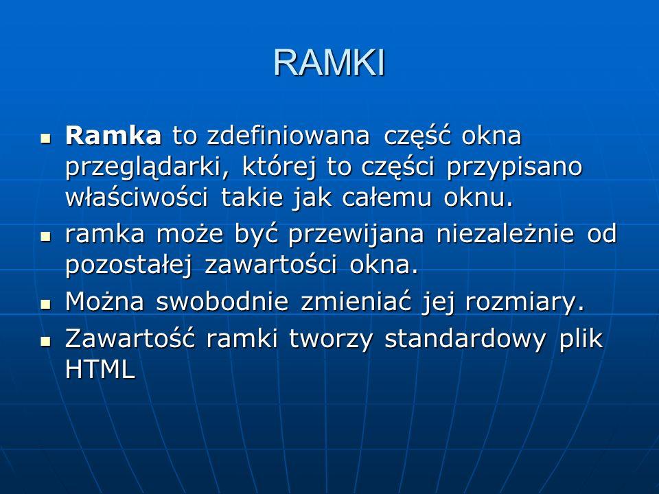 RAMKI Ramka to zdefiniowana część okna przeglądarki, której to części przypisano właściwości takie jak całemu oknu.