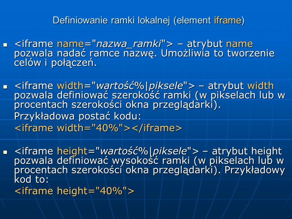 Definiowanie ramki lokalnej (element iframe)