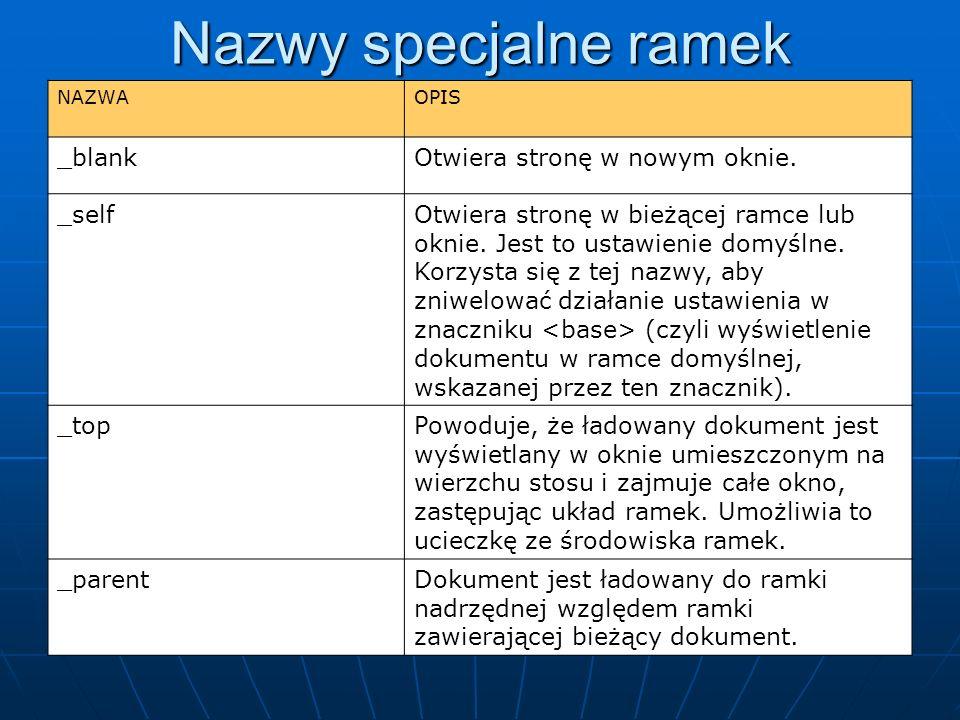 Nazwy specjalne ramek _blank Otwiera stronę w nowym oknie. _self