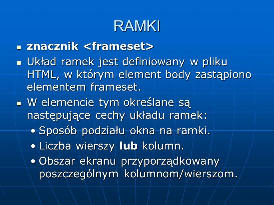 RAMKI znacznik <frameset>