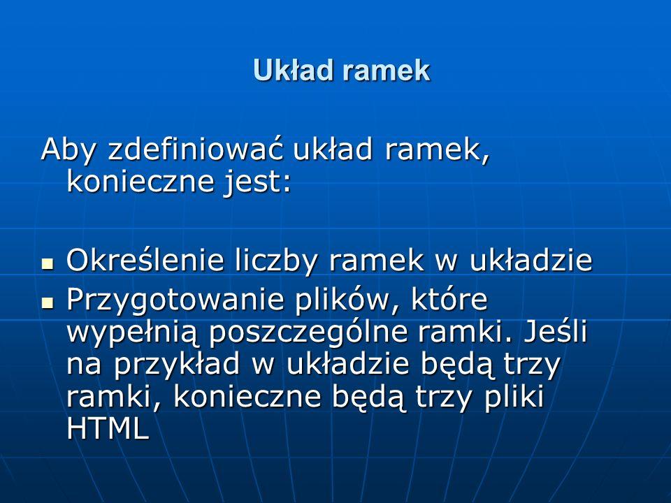 Układ ramekAby zdefiniować układ ramek, konieczne jest: Określenie liczby ramek w układzie.