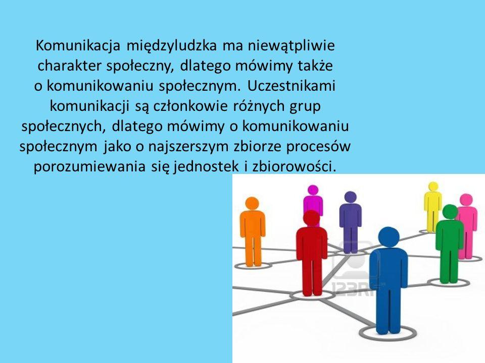 Komunikacja międzyludzka ma niewątpliwie charakter społeczny, dlatego mówimy także o komunikowaniu społecznym.